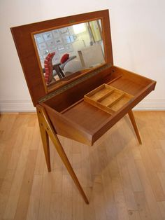 Danish Modern Compass Vanity Desk in Teak | From a unique collection of antique and modern desks at http://www.1stdibs.com/furniture/storage-case-pieces/desks/
