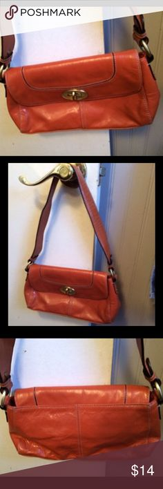 """Cognac Shoulder Bag Cognac shoulder back with brass hardware with cloth lining with 2 pockets on one side and a zippered pocket on the other side. 11""""x6""""x2"""" wide bottom. Peck & Peck Collection Bags Shoulder Bags"""