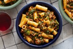 Creamy Beef Ragù & Elicoidali Pasta with Spinach & Cheddar Cheese. Visit https://www.blueapron.com/ to receive the ingredients.