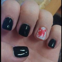 Black nails with accent finger white supporting Seabreeze!!!