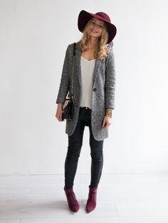 Outfit: Grey Blazer & Bordeaux Hat #followfashion #outfit #fashionblogger #fashion