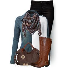 Plaid Scarf & Chambray top