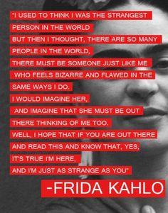 """""""Soy tan extraña como tu"""" Inolvidables Frases de Amor de Frida Kahlo"""