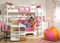 white Loft Beds For Girls with desk underneath at stores | bunk beds with desk