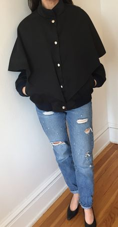 Black Cape Varsity Jacket, Women's Vintage Black Baseball Jacket, Black Cape, 1980s Jacket size small by LoredanasVintage on Etsy