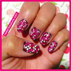 Pink Fish Scale Nail Art