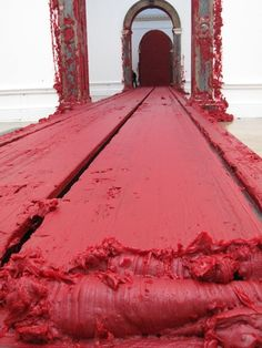 Installation by Anish Kapoor... visitors forced to walk over