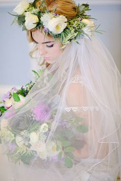 bridal veils with flowers sewn in | Veil and flower crown / Kristen Weaver Photography