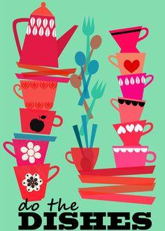 Do the Dishes-art print. Elisandra Sevenstar, via Etsy.