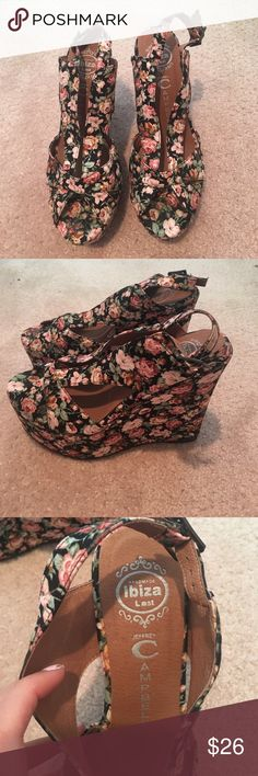 Jeffrey Campbell wedges Brand new never worn. Unfortunately dog chewed on right heel. Can still walk in them and can be fixed! Great price Jeffrey Campbell Shoes Wedges