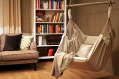 Shuup Snow is handmade original design hammock chair made for indoor and outdoor usage. It is made out of white Linen fabrics.
