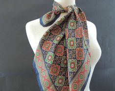 Silk Square Navy Blue Scarf with Green/Red Flower like Medallions Navy Blue Scarf, Red Flowers, Scarfs, Alexander Mcqueen Scarf, Silk, Trending Outfits, Green, Etsy, Vintage