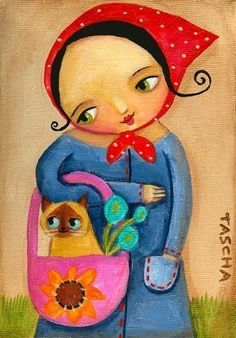 SIAMESE Cat in purse with BABUSHKA cute print of by tascha on Etsy, $15.00