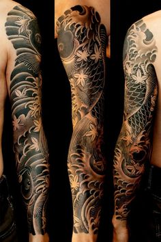 ▷ 1001 traditional tattoo ideas + information about their history and symbol . - ▷ 1001 traditional tattoo ideas + information about their history and symbolism – - Koi Tattoo Sleeve, Japanese Sleeve Tattoos, Best Sleeve Tattoos, Tattoo Sleeve Designs, Tattoo Japanese, Tattoos Geometric, Tribal Tattoos, Asian Tattoos, Black Tattoos