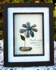 Flower...pebble art by BeginAgainCreative on Etsy