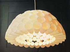 This is made out of PLASTIC CUPS! Glue them together in a neat shape, and attach a light bulb and wire! An IKEA look for less than ten bucks.