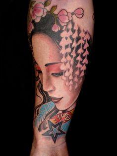 Colorful japanese geisha tattoo
