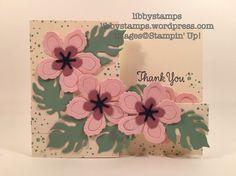libbystamps, stampin up, Botanical Builder Framelits. Thankful Thoughts, Botanical Blooms, WWC77, z-fold
