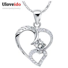 Find More Pendant Necklaces Information about 2016 White Love Necklace Women Sterling Silver Jewelry Purple Crystal Heart Necklaces Pendants Bijuterias Collane Uloveido N675,High Quality pendant set,China pendant jewellry Suppliers, Cheap pendant factory from Uloveido Official Store on Aliexpress.com