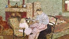 Edouard Vuillard - Woman Feeding a Child (Annette, daughter of Ker Xavier Roussel) 1901 (oil on card mounted on panel)