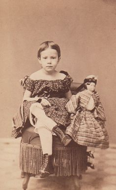 1860s children's dress and doll