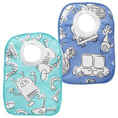 2 Pack Pullover Bibs - Robots and Cars