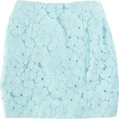 Diane von Furstenberg Clyde Skirt featuring polyvore, women's fashion, clothing, skirts, mini skirts, bottoms, saias, blue, women, short lace skirt, floral lace skirt, short mini skirts, short skirts and lace miniskirt