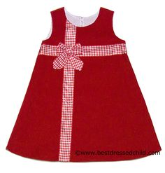 Anavini Girls Red Corduroy A-Line Jumper Dress - Gingham Ribbon / Bow Christmas Gift Dress