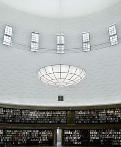 Lovely blue ceiling in the Stockholm Public Library