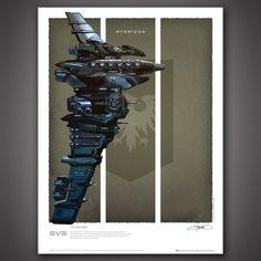 EVE! EVE Online Battlecruisers Art Print Set – Myrmidon - Quantum Mechanix
