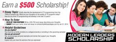 1,000 scholarship open to Canadian and US college students. Deadline ...