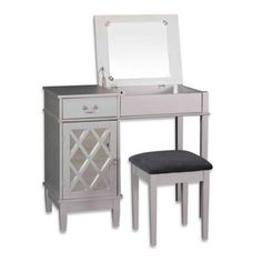 product image for Linon Home Lattice 2-Piece Vanity Set in Silver
