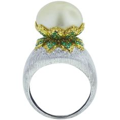 Buccellati Pearl Emerald Gold Ring | From a unique collection of vintage cocktail rings at https://www.1stdibs.com/jewelry/rings/cocktail-rings/