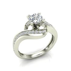 Intertwined Diamond Engagement Ring Solitaire Loop 14k White Gold 1.00 ct (Ring Size 9)