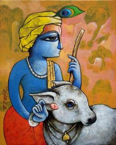 Indian Traditional Paintings, Indian Art Paintings, Paintings I Love, Hare Krishna, Krishna Art, Krishna Drawing, Krishna Painting, Bhagavad Gita, Shiva