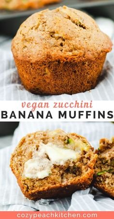 Vegan zucchini banana bread muffins are a moist & flavorful, healthy-ish vegan dessert. Zucchini and banana make these vegan muffins moist, flavorful, and nutritious. They use simple ingredients and are ready to eat in just over 30 minutes. Banana Zucchini Muffins, Healthy Banana Bread, Healthy Muffins, Vegan Zucchini Recipes, Zucchini Bread Vegan, Healthy Zucchini, Vegan Food, Gateaux Vegan, Healthy Baking