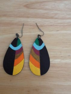 Abstract Art Wood Earrings Acrylic Teardrop by SheaKreations, $7.00 Quilling Earrings, Diy Earrings, Wooden Earrings, Wooden Jewelry, Colorful Abstract Art, Terracotta Jewellery, Ornaments Design, African Jewelry, Fabric Jewelry