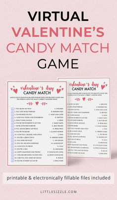 Virtual Valentine's Day Party Games Virtual Valentine's Party Ideas for Facebook or Zoom by LittleSizzle. Are you hosting a virtual Valentine's Day party? Encourage talking and laughter with some fun Valentine's games. Valentine's Day Candy Bar is a great way to entertain your guests and get everyone involved. Printable and electronically fillable files are included, so that you can play this Valentine's trivia game in-person or on a conference call app like Zoom or Teams… Valentines Photo Booth, Valentines Day Trivia, Valentine Games, Valentine Theme, Valentine Ideas, Facebook Party, For Facebook, Valentine's Day Party Games, Candy Games