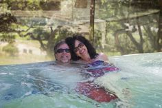 Mary Lou and her boyfriend in and infinity hot tub in Carmel.