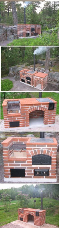 Garden Landscaping Backyard ideas for kitchen outdoor grill barbecue Outdoor Oven, Outdoor Cooking, Outdoor Patios, Outdoor Projects, Garden Projects, Outdoor Ideas, Outdoor Decorations, Brick Bbq, Outdoor Kitchen Design