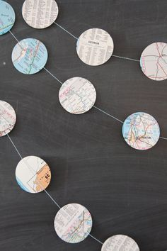 vintage maps dots garland - going away party or around the world baby shower