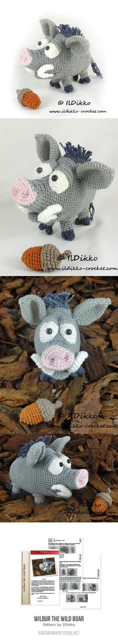 Cutest fricking thing ever!!!!!!! // Wilbur The Wild Boar Amigurumi Pattern
