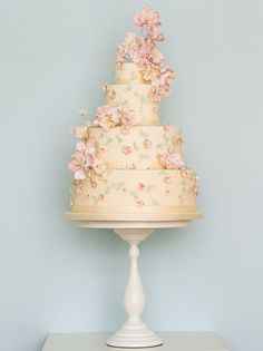 Floral fashion wedding cake by Rosalind Miller Cakes ~ Beautifully Decorated and Delicious Award Winning Wedding Cakes http://www.rosalindmillercakes.com/