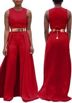 Red Plain Zipper Sleeveless High Waisted Long Jumpsuit With Maxi Overlay