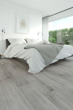 Grey Hardwood Floors, Grey Flooring, Living Room Flooring, Bedroom Flooring, Home Bedroom, Modern Bedroom, Bedroom Floor Tiles, White Washed Floors, Home Room Design