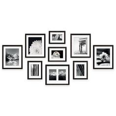 Create a professional-looking wall gallery with the Frame Gallery frame kit by Swing Design. Includes 9 black wood frames with acid-free beveled mats, a full-size hanging template, and hardware. Just add your favorite photos or artwork. Picture Frame Layout, Photo Frame Design, Picture Wall, Wall Design, Frame Wall Collage, Photo Wall Collage, Frames On Wall, Wood Frames, Family Wall Decor