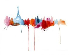Abstract Silhouette Paintings of Famous Cityscapes