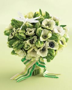 Dragonfly on a Wedding Bouquet with green tulips and white anemones