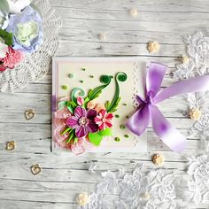 Floral Greeting card Quilling Greeting card Floral quilled