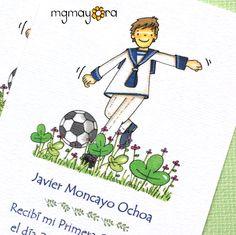 Recordatorios de Comunión personalizados para niño, con balón de fútbol